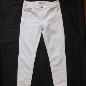 Zara Distressed White Ankle Stretch Skinny Jeans